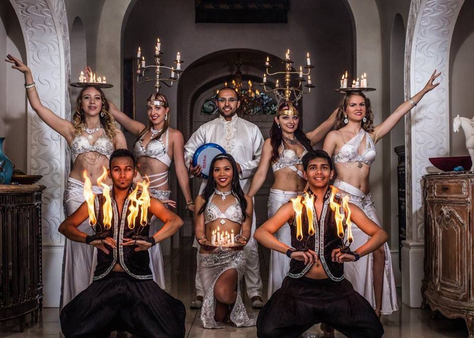 Belly Dancers, Drummer and Fire Artists